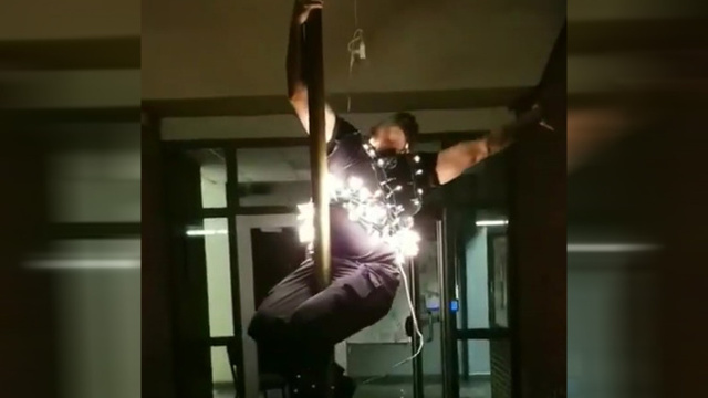 Firefighter imitates 'ball' as New Year approaches